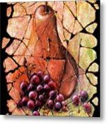 Vintage  Pear And Grapes Fresco   Metal Print
