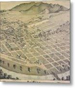 Vintage Pictorial Map Of El Paso Texas - 1886 Metal Print
