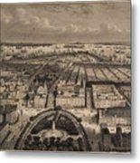 Vintage Pictorial Map Of New York City - 1840 Metal Print
