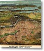 Vintage Pictorial Map Of Newark Nj - 1916 Metal Print