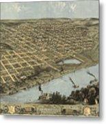 Vintage Pictorial Map Of Omaha Nebraska - 1868 Metal Print