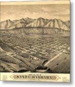 Vintage Pictorial Map Of Santa Barbara Ca - 1877 Metal Print