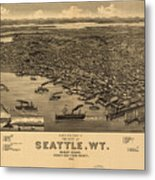 Vintage Pictorial Map Of Seattle - 1884 Metal Print