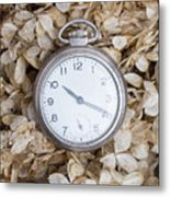 Vintage Pocket Watch Over Dried Flowers Metal Print