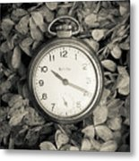 Vintage Pocket Watch Over Flowers Metal Print