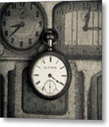 Vintage Pocket Watch Over Old Clocks Metal Print