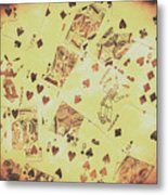 Vintage Poker Card Background Metal Print