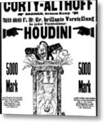 Vintage Poster Advertising A Performance By Houdini, 1922 Metal Print