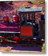Vintage Red Calico Train Metal Print