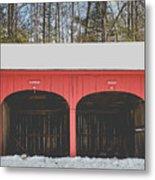 Vintage Red Carriage Barn Lyme Metal Print