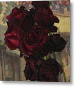 Vintage Roses In Vintage Paris Metal Print