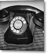Vintage Rotary Phone Black And White Metal Print