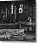 Vintage Sawmill In Black And White Metal Print
