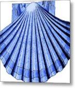 Vintage Scallop Shell Blue Metal Print