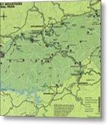 Vintage Smoky Mountains National Park Map Metal Print
