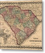 Vintage South Carolina Map Metal Print