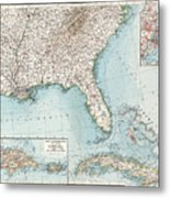 Vintage Southeastern Us And Caribbean Map - 1900 Metal Print