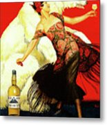 Vintage Spanish Liquor Ad, Flamenco Dancer, Polar Bear Metal Print