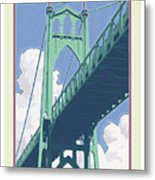 Vintage St. Johns Bridge Travel Poster Metal Print