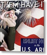 Vintage Style Pinup Recruiting Poster Metal Print