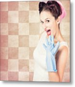 Vintage Surprised Pinup Woman Doing Housework Metal Print