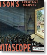 Vintage Thomas Edison Print - The Vitascope Metal Print