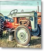 Vintage Tractors Pei Square Metal Print