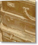 Vintage Travel Stack Metal Print