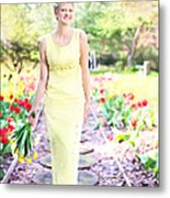 Vintage Val In Tulips Metal Print
