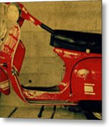 Vintage Vespa Scooter Red Metal Print
