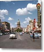 Vintage View Downtown Austin Looking Up Congress Avenue In Front Metal Print