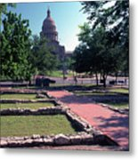 Vintage View Of The Foundation Of The First Texas Capitol That Burned Down In 1836 Metal Print