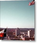 Vintage View Of The Texas And Usa Flags Flying On Top Of Texas State Capitol Metal Print