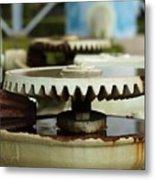 Vintage Water Pump With Gears Metal Print