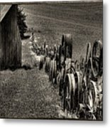 Vintage Wheel Fence Metal Print by David Patterson