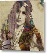 Vintage Woman Built By New York City 1 Metal Print