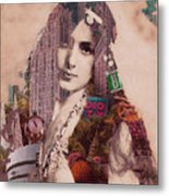 Vintage Woman Built By New York City 2 Metal Print