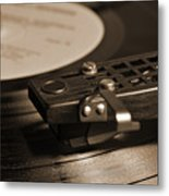 Vinyl Record Playing On A Turntable In Sepia Metal Print