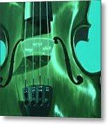 Violin In Green Metal Print