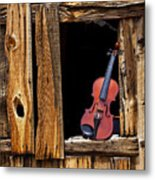 Violin In Window Metal Print