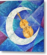 Violin-moon Metal Print