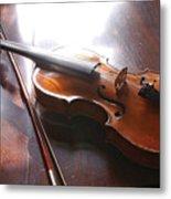 Violin On Table Metal Print