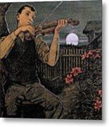 Violin Player To The Moon Metal Print