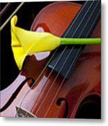 Violin With Yellow Calla Lily Metal Print