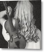 Violin Woman - Id 16218-130643-9888 Metal Print