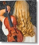 Violin Woman - Id 16218-130709-0128 Metal Print