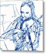 Violinist In Blue II Metal Print