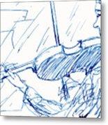Violinist In Blue Metal Print