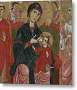 Virgin And Child Enthroned With Saints Leonard And Peter And Scenes From The Life Of Saint Peter Metal Print