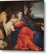Virgin And Infant With Saint John The Baptist And Donor Metal Print